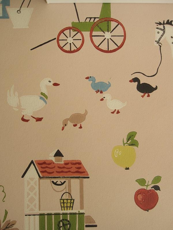 画像1: ヴィンテージ壁紙(ピンクファーム)