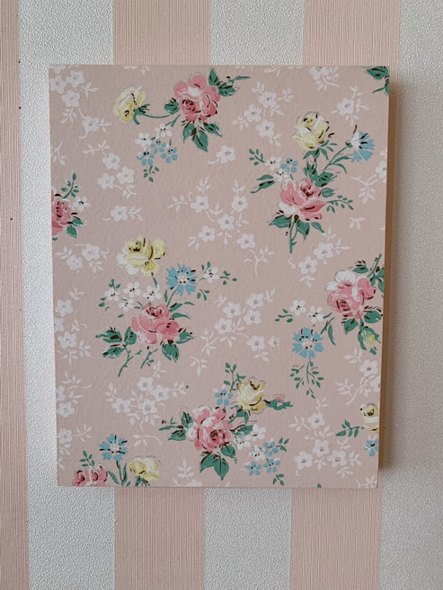 画像1: ヴィンテージ壁紙パネル(ピンクローズ)